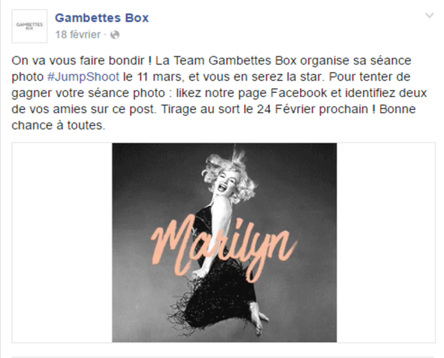 Post Facebook Concours Gambettes Box